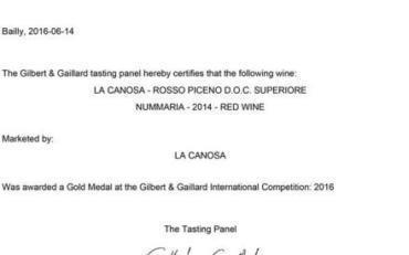 NUMMARIA medaglia d'oro Gilbert & Gaillard 2016