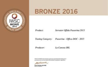 Servator medaglia bronzo al The International Wine and Spirit Competition (IWSC)