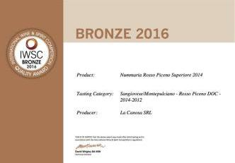 Nummaria medaglia Bronzo The International Wine and Spirit Competition (IWSC)