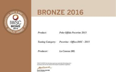 Peko Bronzo alThe International Wine and Spirit Competition (IWSC)