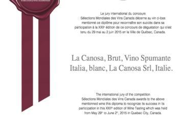 SMV 2015 winner La Canosa, Brut, Vino Spumante Italia, blanc