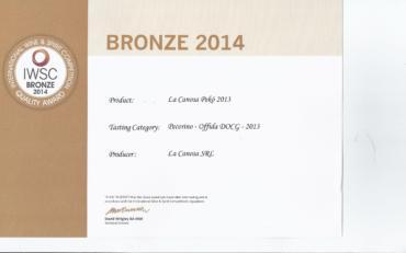 International wine & spirit competition   quality award Bronze 2014 Pekò 2013
