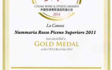 CWSA China wine & spirits awards 2014 NUMMARIA 2011