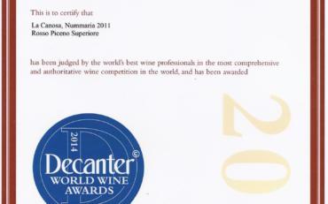 NUMMARIA 2011 DECANTER WORLD WINE AWARDS 2014