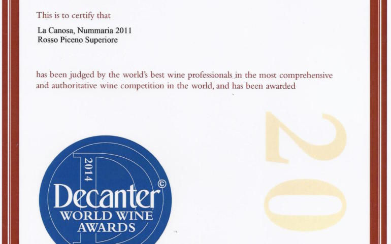 NUMMARIA 2011 DECANTER WORLD WINE AWARDS 2014