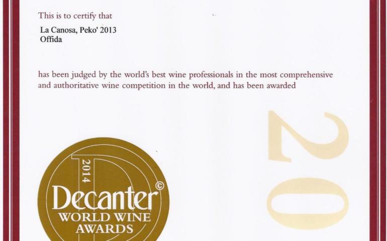 Decanter World wine awards 2014 Pekò 2013