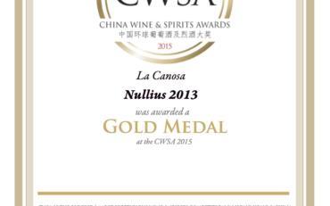 CWSA 2015 Nullius 2013 gold medal