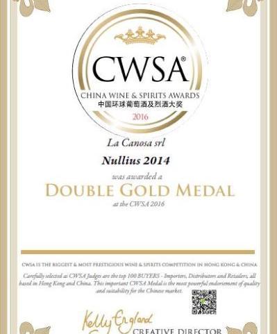 Medaglia D'oro al China Wine & Spirits Awards 2016 per il Nullius 2014.