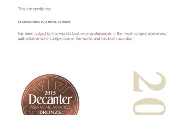 Nullius 2013 Bronze Decanter Asia wine award