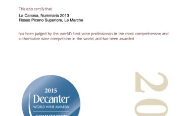 Decanter World Wine Awards 2015 Nummaria 2013 Commended