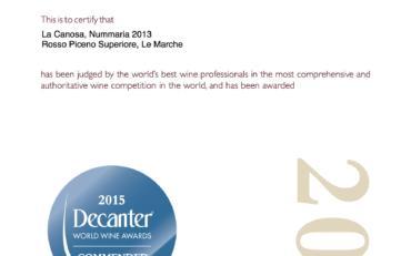 Decanter World Wine Awards 2015 Nummaria 2013 Commended
