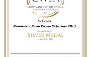 CWSA 2015 Silver Medal Nummaria 2013