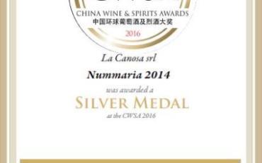 Medaglia D'argento al China Wine & Spirits Awards 2016 per il Nummaria 2014.