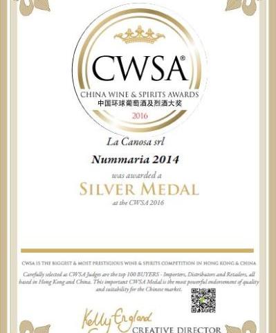 Medaglia D'argento al China Wine & Spirits Awards 2016 per il Nummaria 2014.