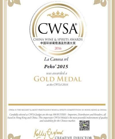 Medaglia D'oro al China Wine & Spirits Awards 2016 per il Pekò 2015.