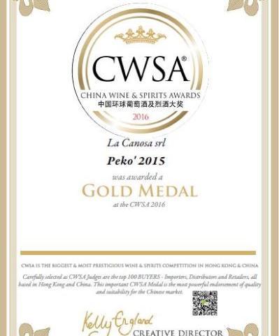 Medaglia D'oro al China Wine & Spirits Awards 2016 per il Pekò 2015.