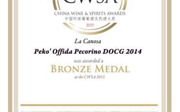 CWSA 2015 Pekò 2014 Bronze Medal