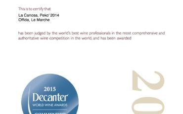 Decanter World Wine Awards 2015 Pekò 2014 Commended