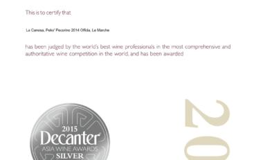 Signator 2013 Bronze Decanter Asia wine award