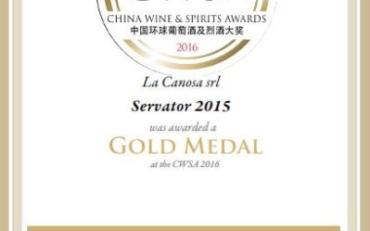 Medaglia D'oro al China Wine & Spirits Awards 2016 per il Servator 2015.