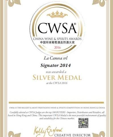 Medaglia D'argento al China Wine & Spirits Awards 2016 per il Signator 2014.