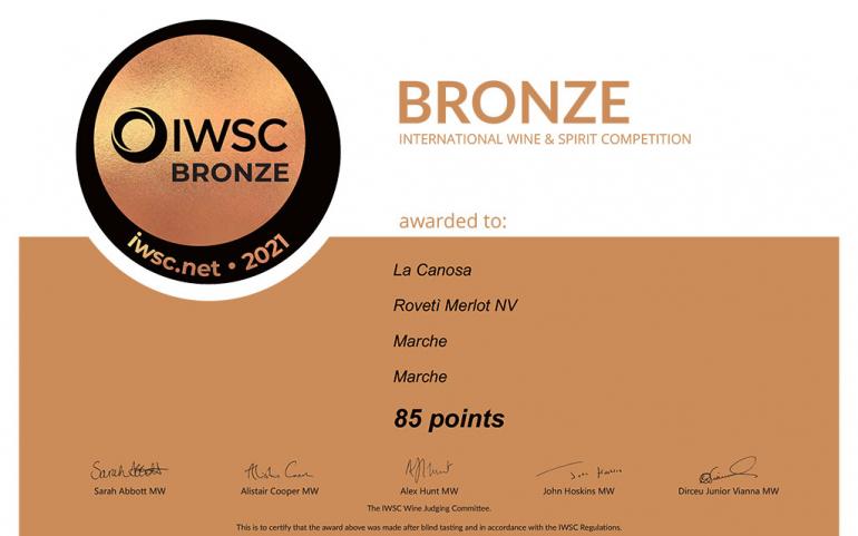 La Canosa Awards – IWSC Bronze